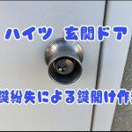 【ハイツ玄関ドア】鍵紛失による鍵開け|ディンプル鍵穴壊さず鍵解除